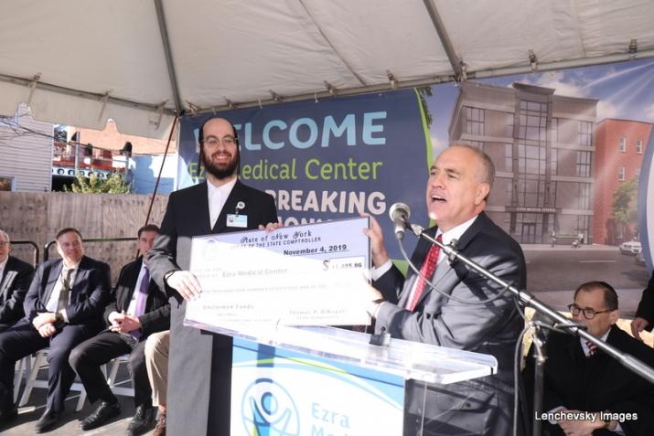 NYS Comptroller Tom DiNapoli presenting a check to Eliazer Igel - CEO Ezra Medical Center , Tom DiNapoli, , ezra friedlander