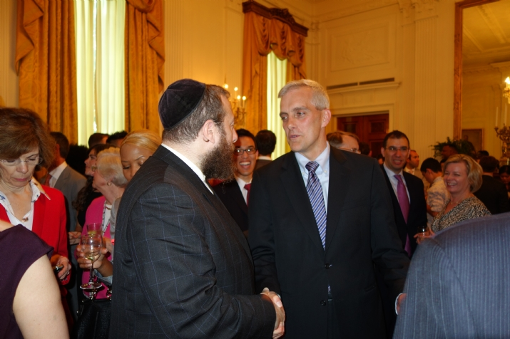 Ezra Friedlander CEO The Friedlander Group talking with White House Chief of Staff Denis McDonough, , , ezra friedlander