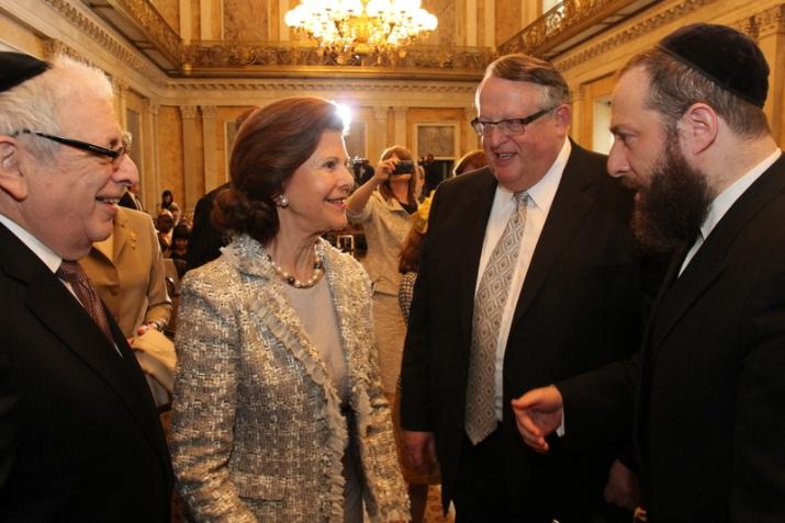 L-R: Joseph B. Stamm, H.M. Queen Silvia of Sweden, Peter Rebenwurzel - Chairman of the Wallenberg Commission, Ezra Friedlander - CEO, The Friedlander Group, , , ezra friedlander