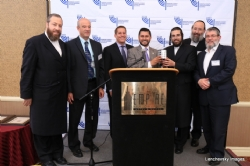 Ezra Friedlander, CEO, The Friedlander Group; Mark Rabson, Director of Public Affairs, Jersey City Medical Center; Jason Sobel, Of Council RE, Sills Cummis & Gross; Honoree Assemblyman Raj Mukherji; David Rosenberg, Executive Director, HCJBA; Aron Stahl, VP, Gel Spice; Nathan Herzog, EVP, Royal Wine, EzraFriedlander