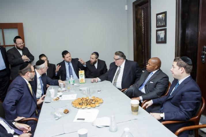 Chaskel Bennett, Ezra Friedlander, Peter Rebenwurzel, Brooklyn Borough President Eric Adams, , , ezra friedlander