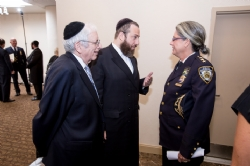 Joseph B. Stamm, Ezra Friedlander, NYPD Chief of Community Affairs Joanne Jaffe, EzraFriedlander