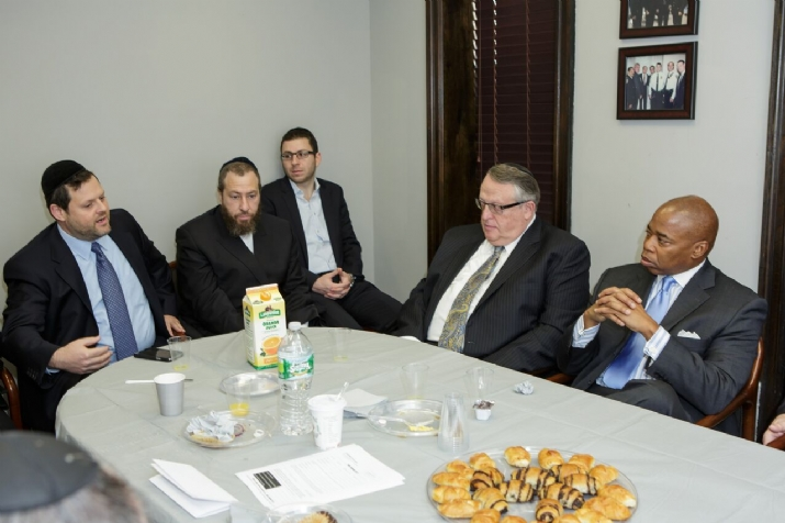 Chaskel Bennett, Ezra Friedlander, Peter Rebenwurzel, Brooklyn Borough President Eric Adams, , , ezra friedlander