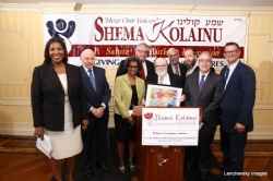 L-R: NYC Public Advocate Letitia James, Dr. Herminia Palacio, Deputy Mayor of Health and Human Services, Peter Rebenwurzel, Dr. Joshua Weinstein, Milton Weinstock, Ezra Friedlander, NYC Comptroller Scott Stringer, NYC Councilmember Andrew Cohen, Scott Stringer