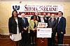 L-R: NYC Public Advocate Letitia James, Dr. Herminia Palacio, Deputy Mayor of Health and Human Services, Peter Rebenwurzel, Dr. Joshua Weinstein, Milton Weinstock, Ezra Friedlander, NYC Comptroller Scott Stringer, NYC Councilmember Andrew Cohen