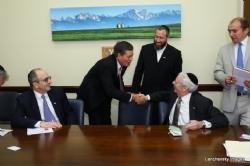 L-R: Dr. Alan Kadish, U.S. Senator Steve Daines, Ezra Friedlander, Joseph B. Stamm, SteveDaines