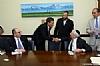 L-R: Dr. Alan Kadish, U.S. Senator Steve Daines, Ezra Friedlander, Joseph B. Stamm