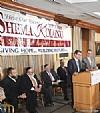 Ezra Friedlander, Dr. Joshua Weinstein, Menachem Lubinsky, Milton Weinstock, Kalman Yeger introducing NYC Councilmember Mark Levine