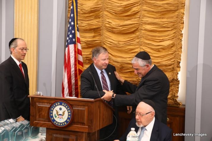 Michael Kierszenbaum, US Representative Doug Lamborn shaking hands Dr. Eli Schussheim, Woli Stern, , RandPaul, ezra friedlander