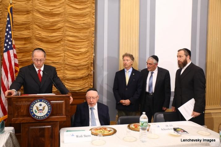 Michael Kierszenbaum introducing Senator Rand Paul, Woli Stern, US Senator Rand Paul, Dr. Eli Schussheim, Ezra Friedlander, , RandPaul, ezra friedlander
