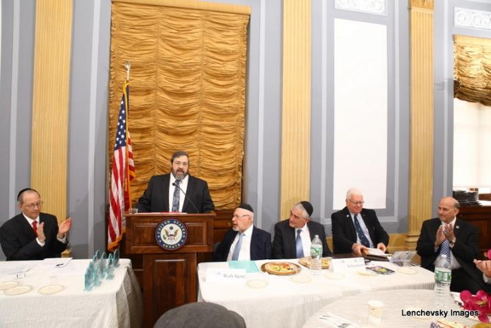 Michael Kierszenbaum, Rabbi Abba Cohen speaking, Woli Stern, Dr. Eli Schussheim, Richard Hellman, US Representative Louie Gohmert, , RandPaul, ezra friedlander