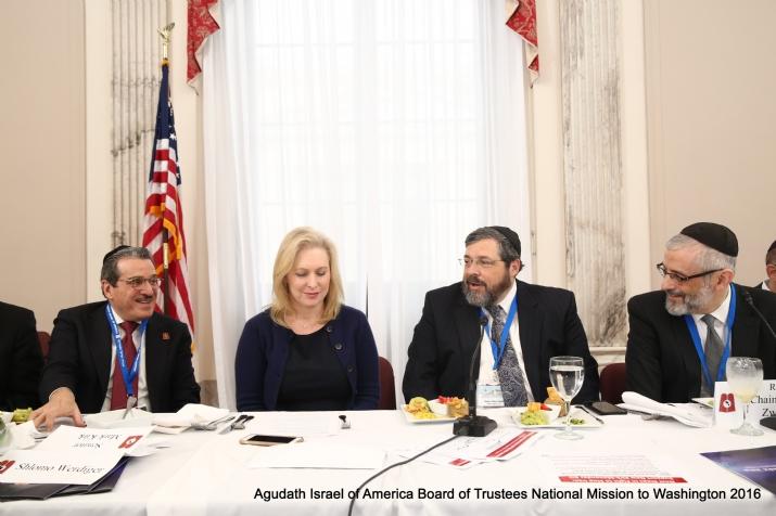 Shlomo Werdiger, US Senator Kirsten Gillibrand, Rabbi Abba Cohen, Rabbi Chaim Dovid Zwiebel, , , ezra friedlander