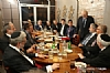 L-R: Sol Goldner, Maurice Bortz, Aubrey Sharfman, Andrew Friedman, Chesky Blau, Ezra Friedlander, Gil Kapen, Jack Avital, Secretary Donald Rumsfeld (speaking), Rabbi Elie Abadie, H.E. Yasser Reda - Ambassador of Egypt, Joseph B. Stamm