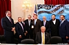 L-R:  Eli Verschleiser, Miles Berger, Stanley Treitel, Sol Goldner, Rep. Mike Rogers, Joseph B. Stamm, Ezra Friedlander, Leon Goldenberg, Whip Steny Hoyer (sitting)