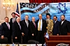 L-R: Miles Berger, Eli Verschleiser, Joseph B. Stamm, Sol Goldner, Stanley Treitel, Rep. Brad Sherman, Chief Rabbi Itzhak Yehoshua, Leon Goldenberg,  Ezra Friedlander