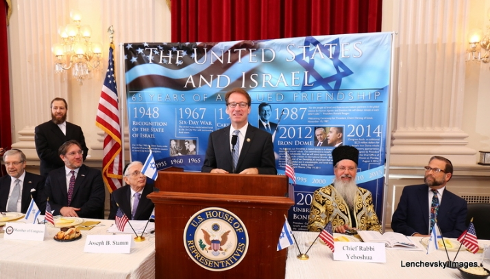 L-R: Sol Goldner, Ezra Friedlander, Joseph B. Stamm, Rep. Peter Roskam (speaking), Chief Rabbi Itzhak Yehoshua, Leon Goldenberg, , , ezra friedlander