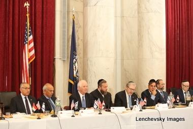 L-R: H.E. Yasser Reda - Ambassador of Egypt, Isaac Dabah, U.S. Senator Ben Cardin, Ezra Friedlander, Sol Goldner, Jack Avital, Leon Goldenberg, Stanley Treitel, , Stanley Treitel, ezra friedlander