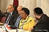 L-R: H.E. Yasser Reda - Ambassador of Egypt, Isaac Dabah, U.S. Representative Sheila Jackson Lee (speaking), Ezra Friedlander
