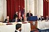 President pro tempore of the U.S. Senate Orrin Hatch, Ambassador Norm Eisen, Ezra Friedlander, Greg Rosenbaum, U.S. Senator Cory Booker (speaking), NYS Assemblymember Phil Goldfeder, Rabbi Hillel Zaltzman, Thomas Corby