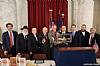 Ambassador Norm Eisen,Rabbi Hillel Zaltzma, Stanley Treitel, J. Morton Davis, U.S. Senator Tim Kaine, Rabbi Marc Schneier, NYS Assemblymember Phil Goldfeder, Ezra Friedlander, Greg Rosenbaum