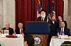 J. Morton Davis, Greg Rosenbaum, Rabbi Hillel Zaltzman (speaking), Ezra Friedlander, NYS Assemblymember Phil Goldfeder, Rabbi Marc Schneier