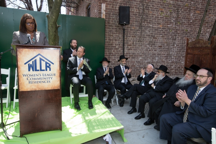 NYC Public Advocate Letitia James (speaking), Ezra Friedlander, Councilmember Brad Lander, Rabbi Burton Jaffa, Rabbi Chaim Docid Zwiebel, Rabbi Burton Jaffa, Lipa Brennen administrator of yeshivas Novominsk, Novomisnker Rebbe, NYS Senator Simcha Felder, , , ezra friedlander