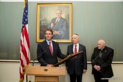 U.S. Senator Jeff Flake at podium with Rabbi Arthur Schneier, S-120HughScottRoom