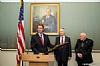 U.S. Senator Jeff Flake at podium with Rabbi Arthur Schneier