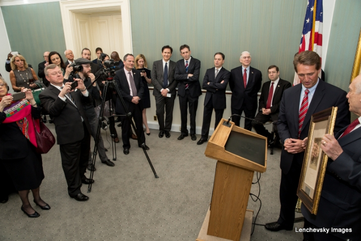 U.S. Senator Jeff Flake at podium with Rabbi Arthur Schneier, ArthurSchneier,JeffFlake,S-120HughScottRoom, KirstenGillibrand, ezra friedlander