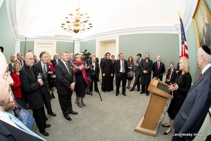 U.S. Senator Kirsten Gillibrand at podium with Rabbi Arthur Schneier, KirstenGillibrand,S-120HughScottRoom, KirstenGillibrand, ezra friedlander