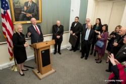 U.S. Senator Kirsten Gillibrand at podium with Rabbi Arthur Schneier, S-120HughScottRoom