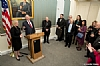 U.S. Senator Kirsten Gillibrand at podium with Rabbi Arthur Schneier