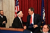 Ezra Friedlander, Joseph B. Stamm shaking hands with US Senator Steve Daines (R-MT), Aaron Cohen