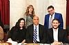 Sitting: Esther Kenigsberg, US Senator Cory Booker (D-NJ), Mendy Kiwak, standing: Shaindy Lax, Moshe Lax