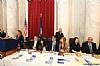 US Representative Debbie Wasserman Shultz speaking, Aaron Cohen, Felicia Cohen, Eli Verschleiser, Sr. Shani Verschleiser, Esther Kenigsberg, US Senator Cory Booker (D-NJ)