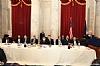 Rabbi Levi Shemtov, Abe Eisner, Stanley Treitel, US Senator Richard Blumenthal (D-CT), Chesky Blau, Rabbi Hillel Zaltzman, US Representative Joe Kennedy III (D-MA), Rabbi Yechiel Eckstein, Greg Rosenbaum, Ezra Friedlander, Joseph B. Stamm, US Senator Ben Cardin (D-MD) speaking
