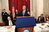 US Representative Joe Kennedy III (D-MA), Greg Rosenbaum, Joseph B. Stamm, Ezra Friedlander, Cory Booker (D-NJ) speaking, Felicia Cohen, Eli Verschleiser, Dr. Shani Verschleiser