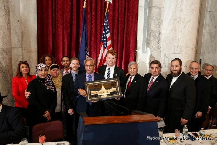 Congressman Joe Kennedy presenting award to Mark Meyer Appel, founder of the Bridge Multicultural and Advocacy Project, , , ezra friedlander