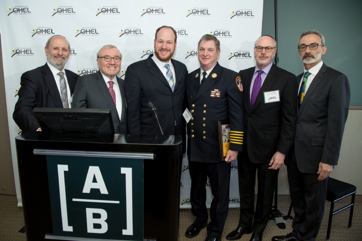 Moshe Zakheim – OHEL Co-Chairman of the Board, Moishe Hellman –OHEL Co-President, Councilman David Greenfield, FDNY Chief of Department James E. Leonard, Elly Kleinman – OHEL Co-Chairman of the Board, OHEL CEO David Mandel, , , ezra friedlander