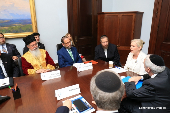 Bukharian Chief Rabbi Itzhak Yehoshua, Leon Goldenber, Ezra Friedlander, US Senator Kirsten Gillibrand, Joseph B. Stamm, Sol Goldner, , , ezra friedlander