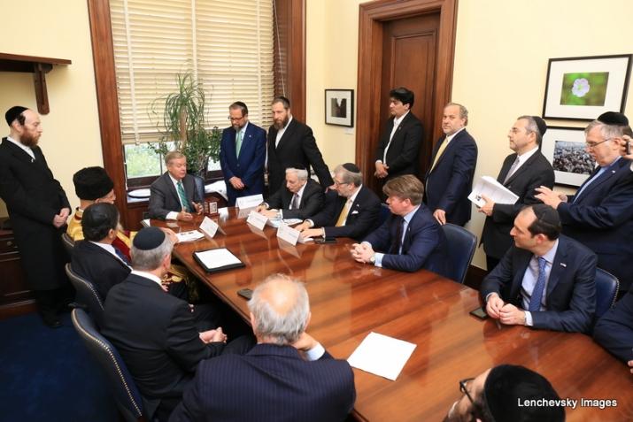 Mission participants with US Senator Lindsey Graham, , , ezra friedlander