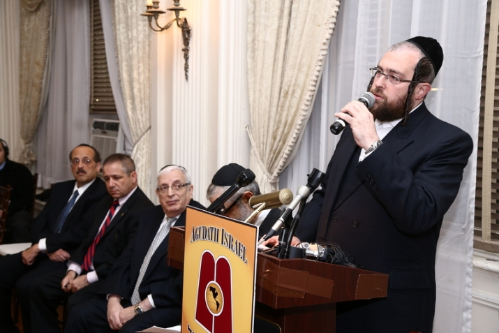 Abe Eisner, FBI Special Agent in Charge Richard Frankel, Joseph B. Stamm, Rabbi Chaim Dovid Zwiebel, Rabbi Abe Friedman speaking, , , ezra friedlander
