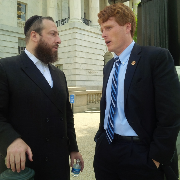 Ezra Friedlander with Congressman Joseph. P Kennedy III after the passing of the Shimon Peres Congressional Gold Medal Legislation, , , ezra friedlander