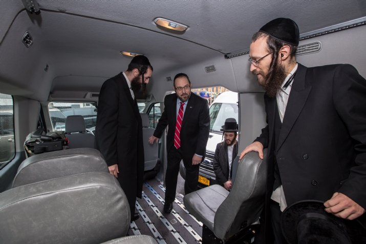 NYS Senator Simcha Felder sitting in one of the new vans, , JerryNadler, ezra friedlander