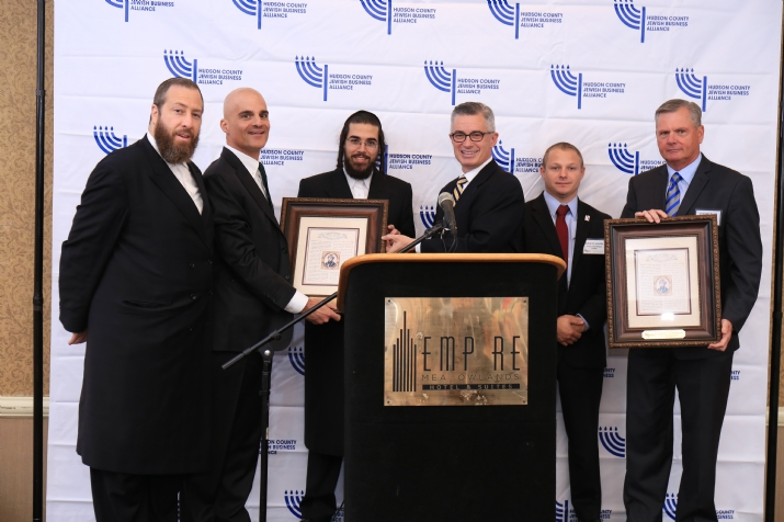 L-R: Ezra Friedlander, CEO, The Friedlander Group; Honoree Mark Gerson, Chairman, United Rescue & United Hatzalah; David Rosenberg, Executive Director, HCJBA; James McGreevey, Former Gov. and Executive Director of JC Employment & Training; Honoree Robert Luckritz, Director of EMS, Jersey City Medical Center; Honoree Joseph Scott FACHE, President & CEO, Jersey City Medical Center., , , ezra friedlander
