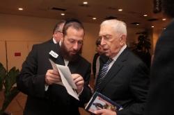 Ezra Friedlander with Senator Frank Lautenberg discussing the Wallenberg Gold Medal Legislation, Frank Lautenberg