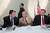 (L-R) Abe Biderman, Senator Isakson (R-GA), Sidney Greenberger