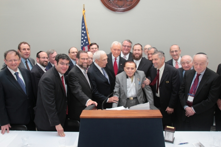With Honoree Andrew E. Stevens Honoree in the front and Senators Lautenberg and Hatch, , , ezra friedlander
