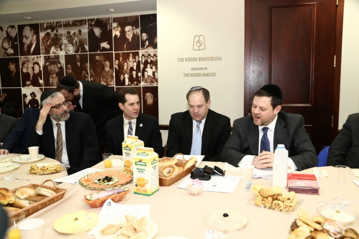Rabbi Chaim Dovid Zwiebel Agudath Israel's executive vice president, CM Mark Levine, CM Rory Lancman, Chaskel Bennett member of Agudath Israel's board of trustees, , , ezra friedlander