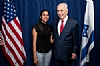 Jasmine Calderone, Israeli Prime Minister Shimon Peres